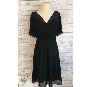 Adrianna Papell Chiffon Swiss Dot Dress